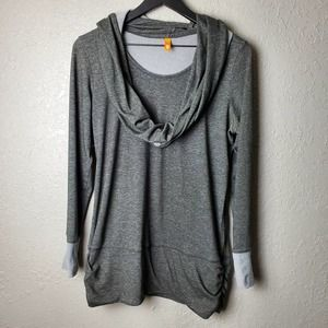 Lucy Gray Top With Scarf Attached Sz. M